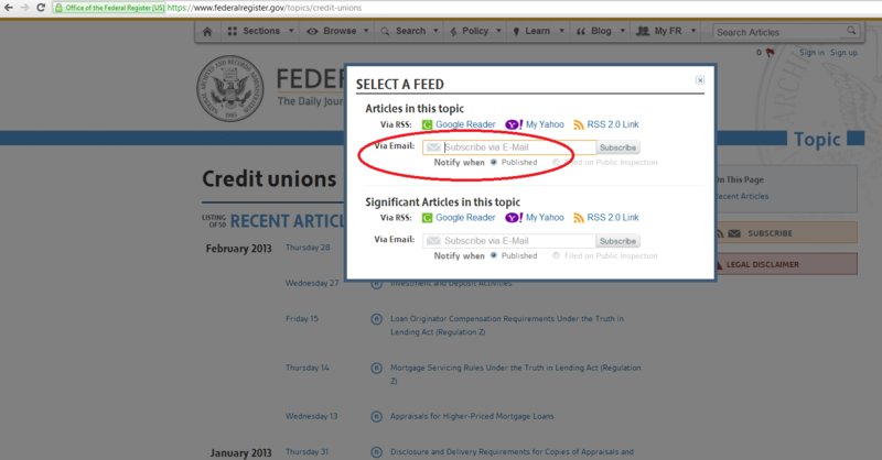 Credit Union Topic - Federal Register - Subscribe