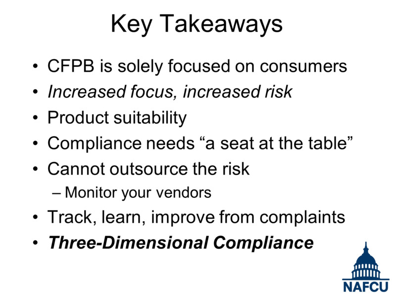Key Takeaways from NAFCU CFPB Presentation - Board of Directors Conference